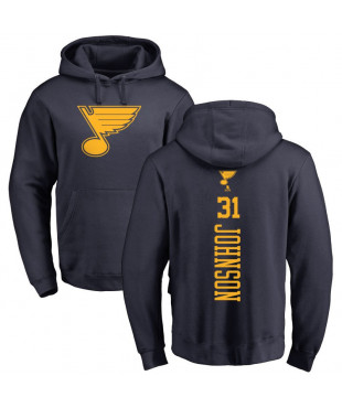 Men's St. Louis Blues 31 Navy One Color Backer Pullover Hoodie - Chad Johnson